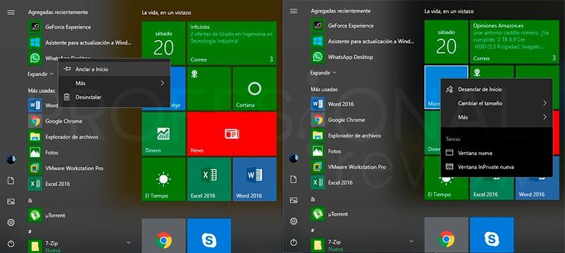 Personalizar menú inicio en Windows 10 paso 04