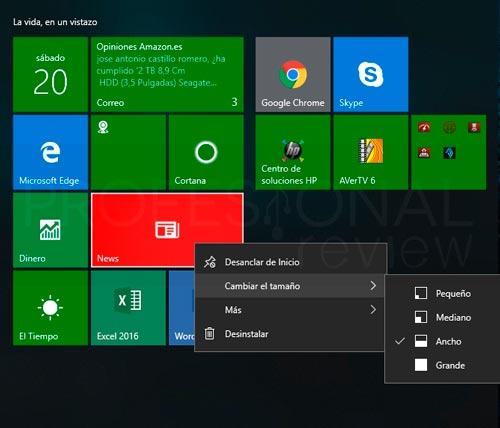 Personalizar menú inicio en Windows 10 paso 07