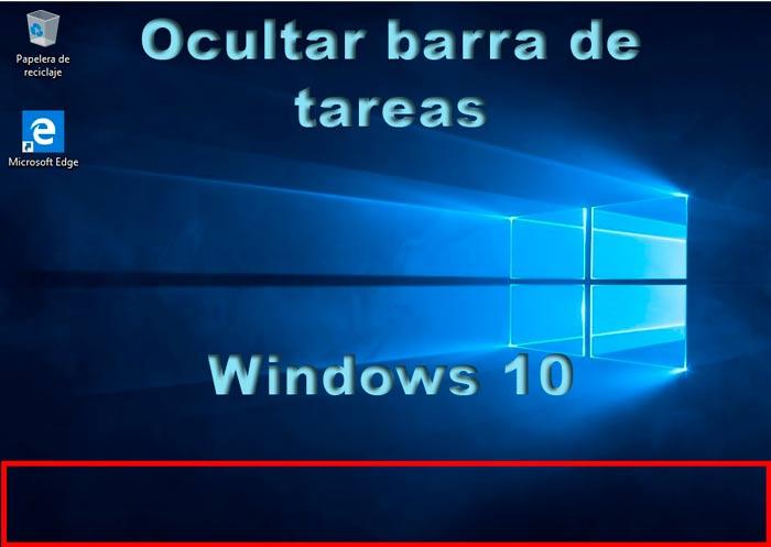 Ocultar barra de tareas en Windows 10