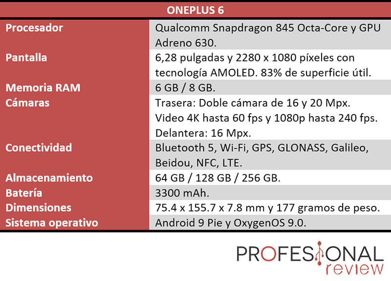OnePlus 6 especificaciones tecnicas