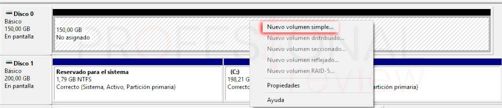 Particionar disco duro Windows 10 p8