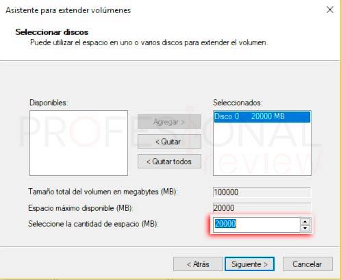 Particionar disco duro Windows 10 p20