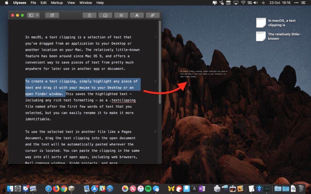 Cómo utilizar recortes de texto en macOS