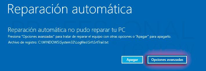 Reparar inicio en Windows 10 p02