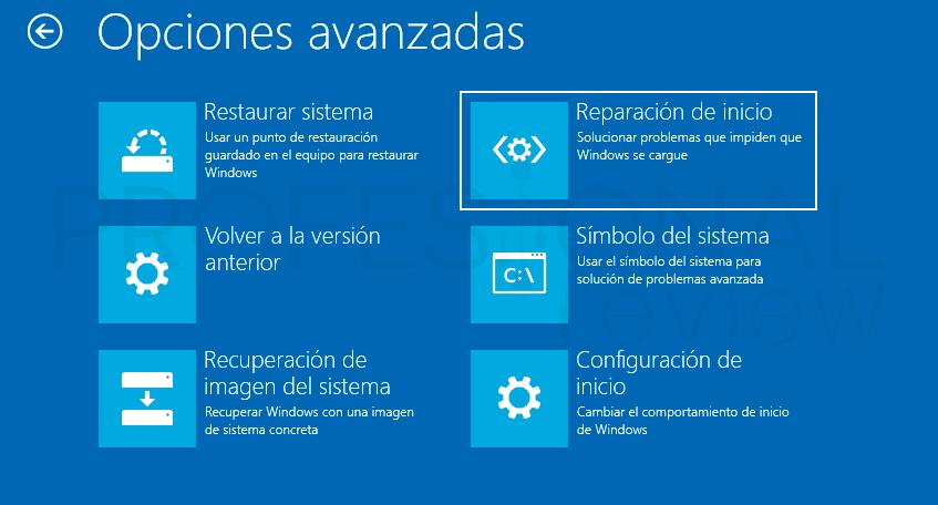 Reparar inicio en Windows 10 p03