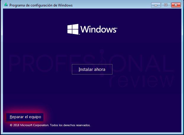 Reparar inicio en Windows 10 p05