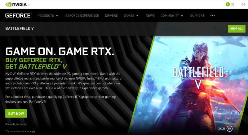 Battlefield V gratis con tu GeForce RTX 20