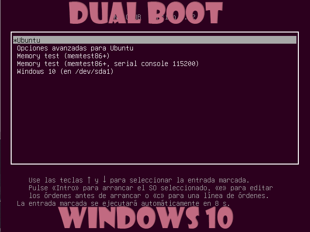 Dual boot de Windows 10 y Ubuntu