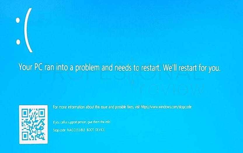 Inaccesible boot device Windows 10 tuto01