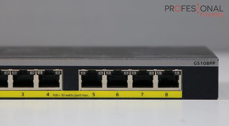 Netgear GS108PP puertos