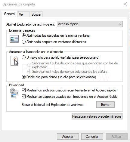 Opciones de carpeta Windows 10 paso 06