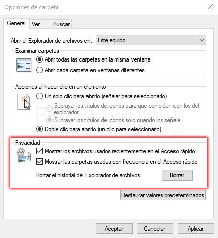 Opciones de carpeta Windows 10 paso 07