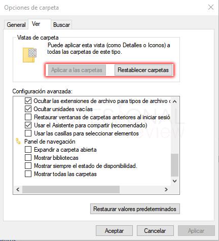 Opciones de carpeta Windows 10 paso 11