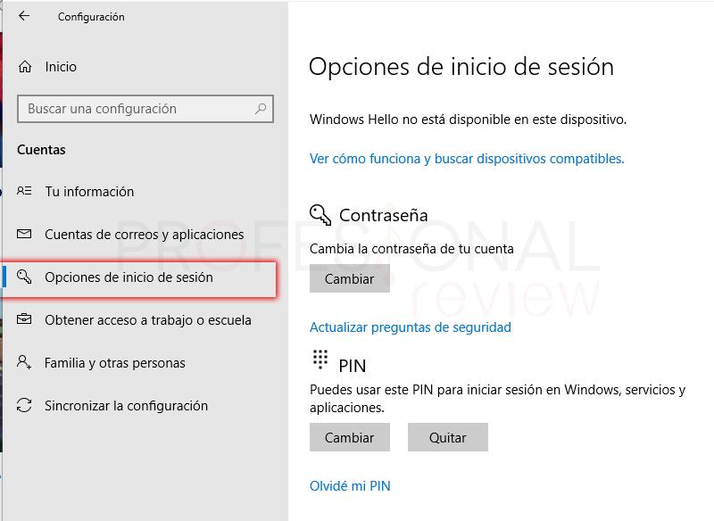 Quitar PIN Windows 10 tuto10