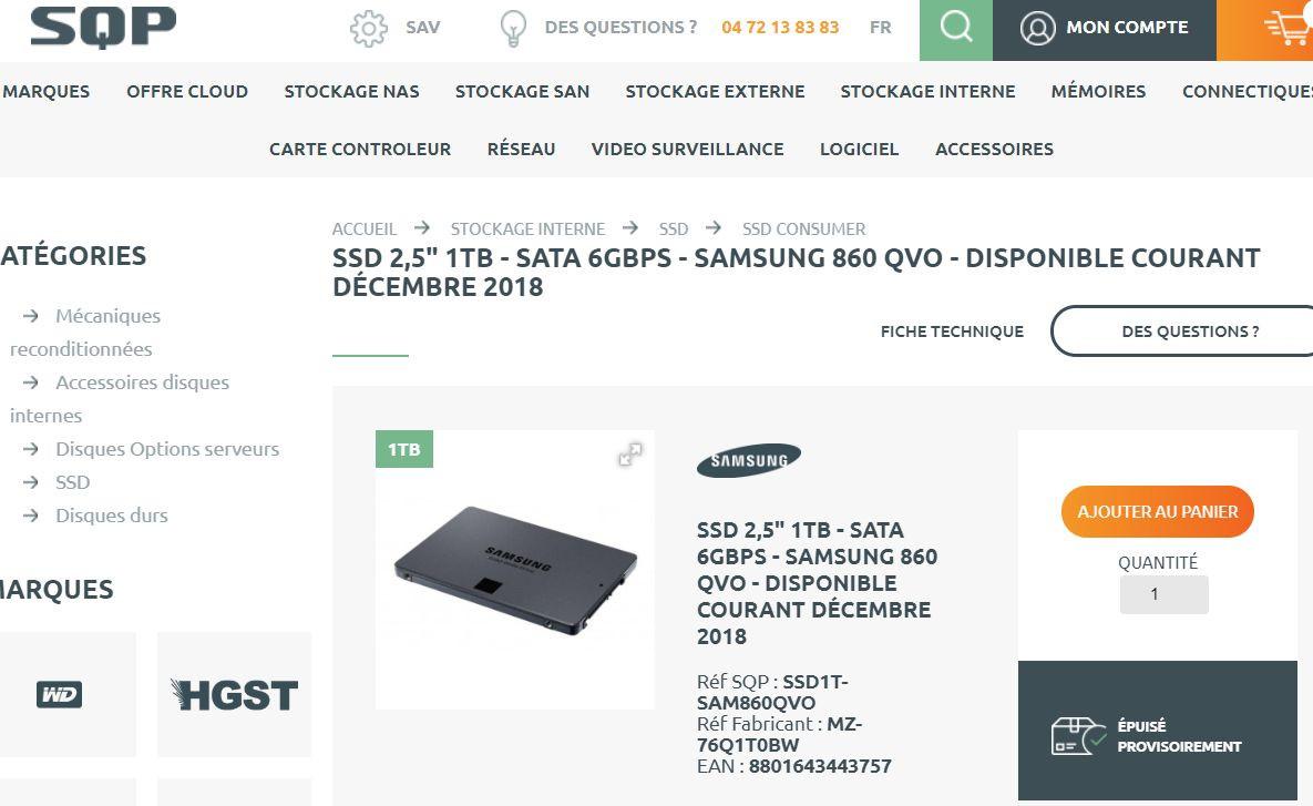 Samsung 860 QVO listado