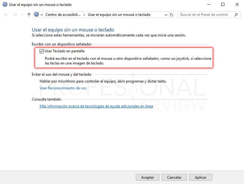 Teclado en pantalla Windows 10 tuto07