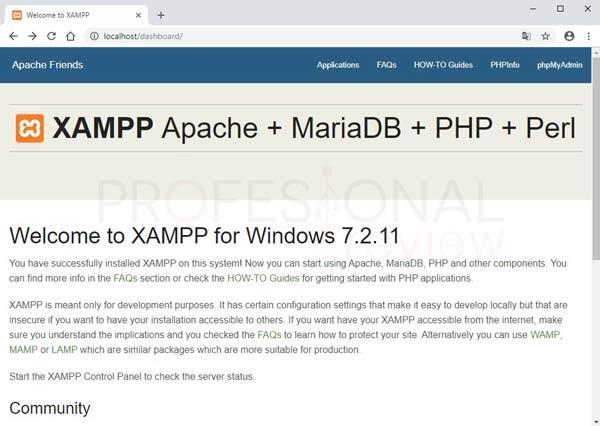 XAMPP en Windows 10 tuto10