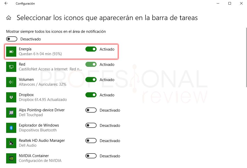 Activar icono de batería Windows 10 paso 08