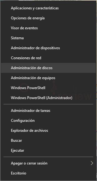 Administrador de disco duro en Windows 10 tuto01