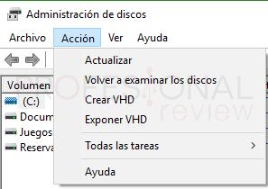 Administrador de disco duro en Windows 10 tuto04