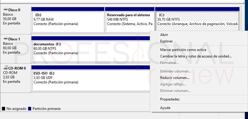Administrador de disco duro en Windows 10 tuto06