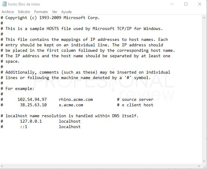 Archivo hosts Windows 10 tuto05