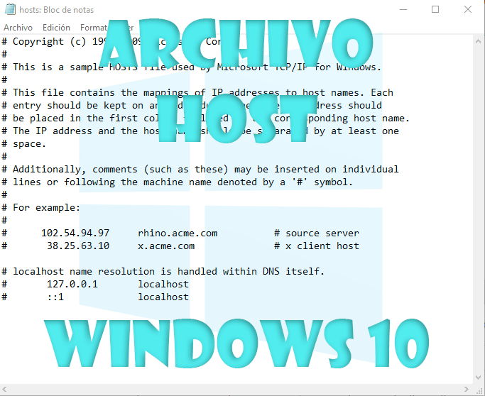 Archivo hosts Windows 10