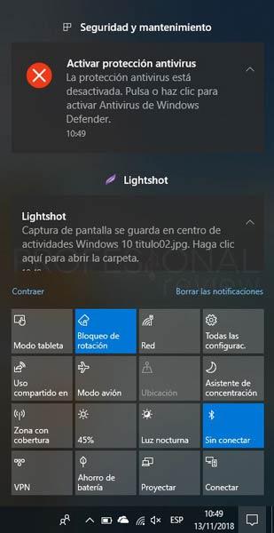Centro de actividades Windows 10 tuto02