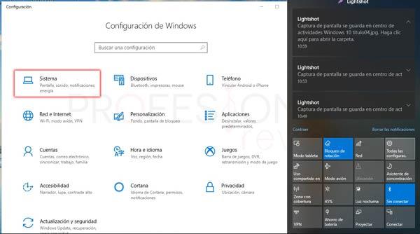 Centro de actividades Windows 10 tuto05