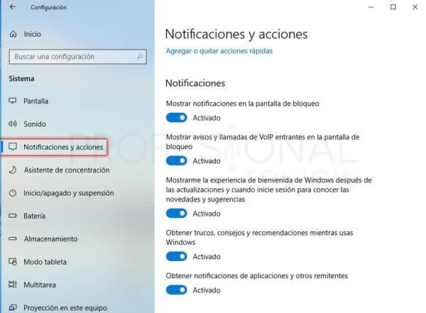 Centro de actividades Windows 10 tuto08