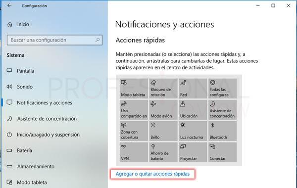 Centro de actividades Windows 10 tuto06