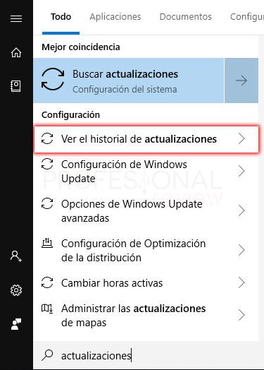 Desinstalar actualizaciones Windows 10 tuto01