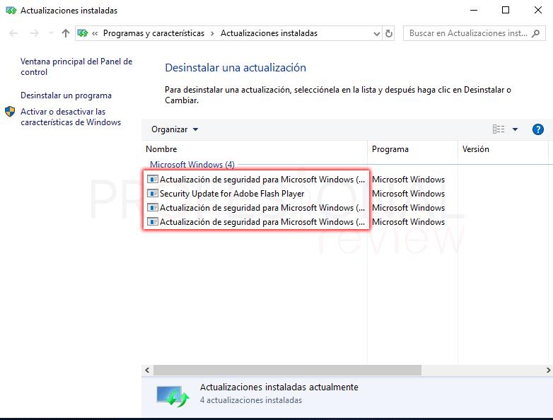 Desinstalar actualizaciones Windows 10 tuto04