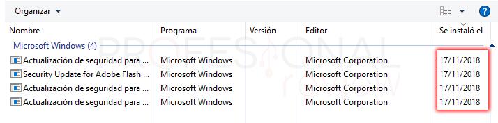 Desinstalar actualizaciones Windows 10 tuto05