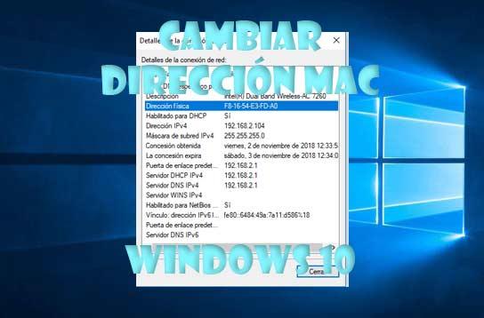Dirección MAC en Windows 10