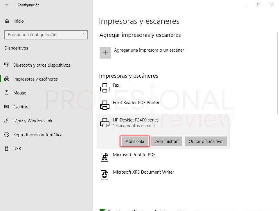 Eliminar cola de impresión en Windows 10 paso 02