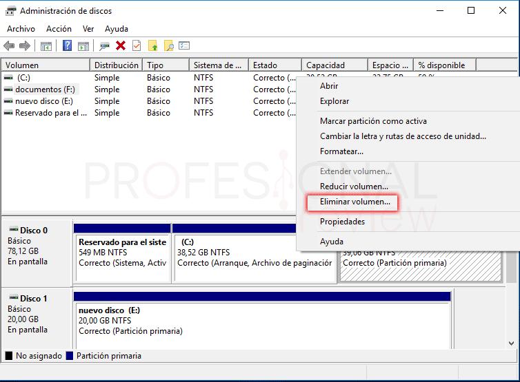 Eliminar particiones en Windows 10 tuto03