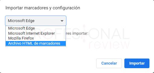 Exportar marcadores desde Chrome paso 11