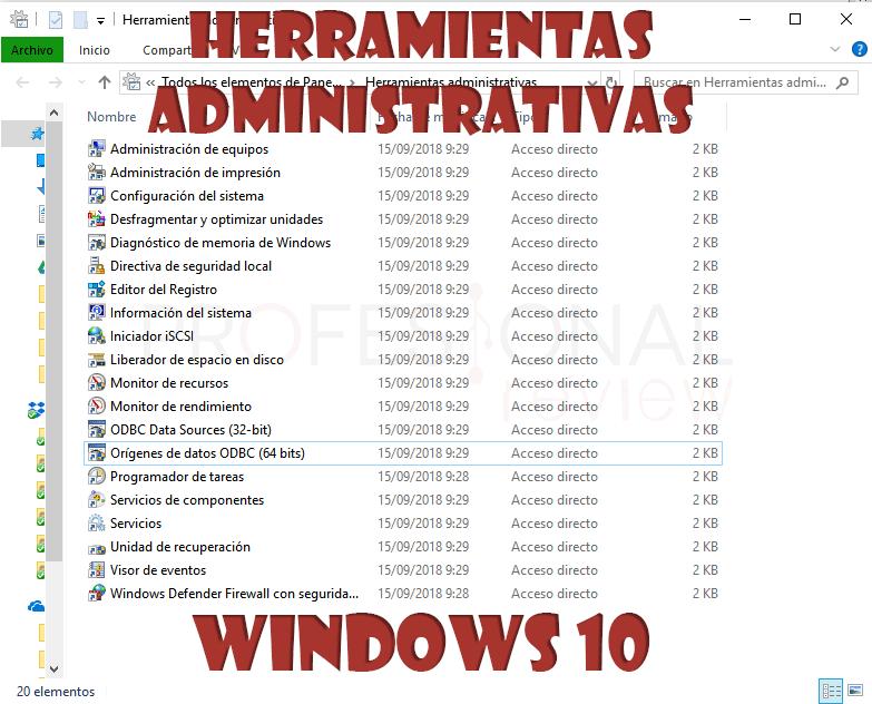Herramientas administrativas Windows 10