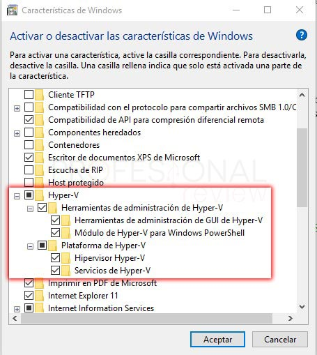 Habilitar Hyper-V en Windows 10 paso 05