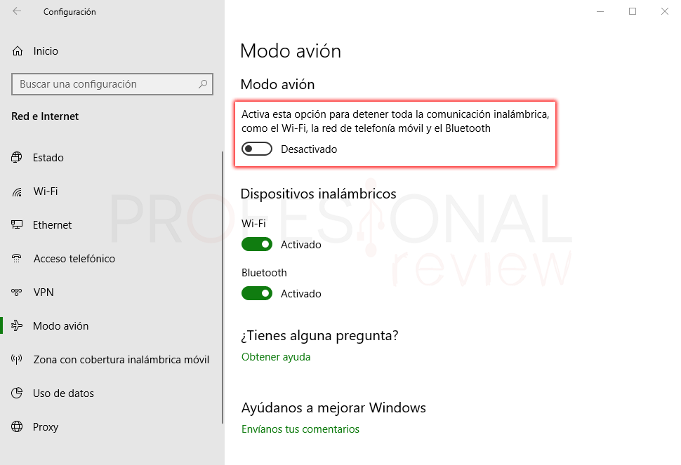 Modo avión Windows 10 paso 03