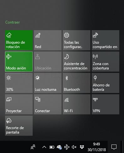 Modo avión Windows 10 paso 05