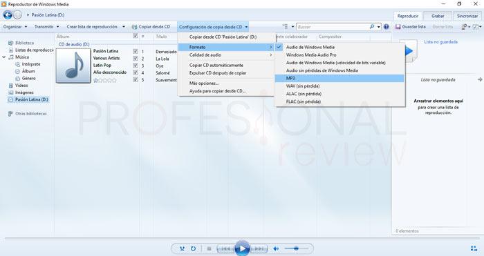 Pasar CD a MP3 Windows 10 tuto04