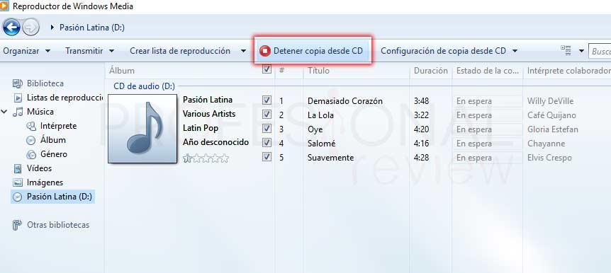 Pasar CD a MP3 Windows 10 tuto05
