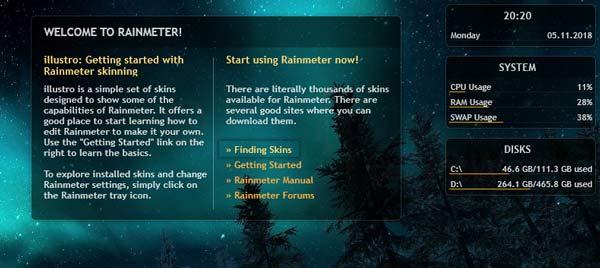 Rainmeter Windows 10 tuto02