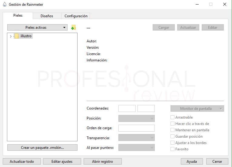 Rainmeter Windows 10 tuto03