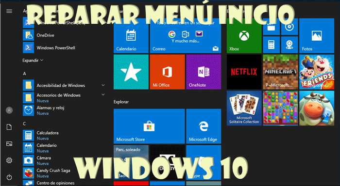 Reparar menú inicio Windows 10