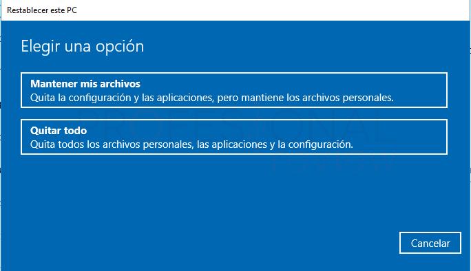 Restaurar de fábrica Windows 10 tuto05