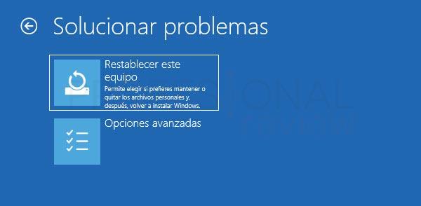 Restaurar de fábrica Windows 10 tuto07