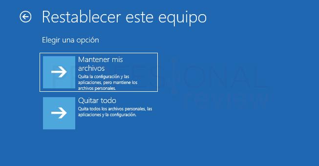 Restaurar de fábrica Windows 10 tuto08